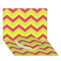 Chevron Yellow Pink Circle Bottom 3D Greeting Card (7x5)