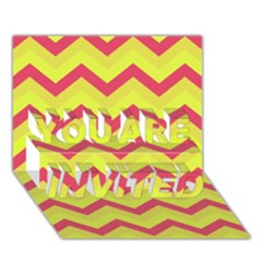 Chevron Yellow Pink YOU ARE INVITED 3D Greeting Card (7x5)