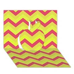 Chevron Yellow Pink Apple 3D Greeting Card (7x5)