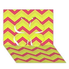 Chevron Yellow Pink Clover 3d Greeting Card (7x5)