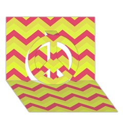 Chevron Yellow Pink Peace Sign 3D Greeting Card (7x5)
