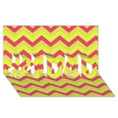 Chevron Yellow Pink #1 Dad 3d Greeting Card (8x4)