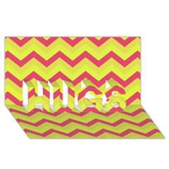 Chevron Yellow Pink Hugs 3d Greeting Card (8x4)