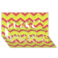 Chevron Yellow Pink Best Wish 3d Greeting Card (8x4)