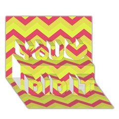 Chevron Yellow Pink You Did It 3D Greeting Card (7x5)