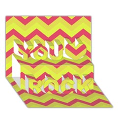 Chevron Yellow Pink You Rock 3d Greeting Card (7x5)