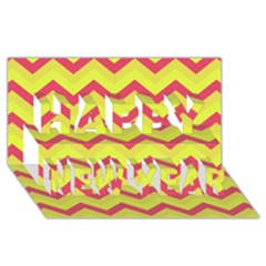 Chevron Yellow Pink Happy New Year 3d Greeting Card (8x4)