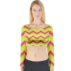 Chevron Yellow Pink Long Sleeve Crop Top