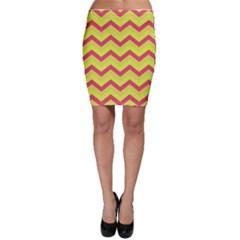 Chevron Yellow Pink Bodycon Skirts