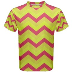 Chevron Yellow Pink Men s Cotton Tees