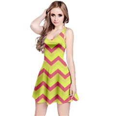 Chevron Yellow Pink Reversible Sleeveless Dresses