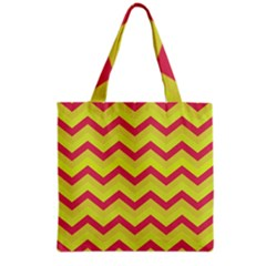 Chevron Yellow Pink Grocery Tote Bags