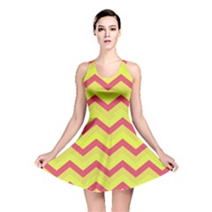 Chevron Yellow Pink Reversible Skater Dresses