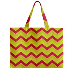 Chevron Yellow Pink Zipper Tiny Tote Bags