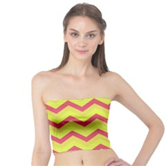 Chevron Yellow Pink Women s Tube Tops