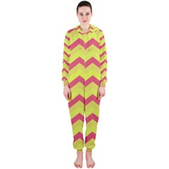 Chevron Yellow Pink Hooded Jumpsuit (Ladies)