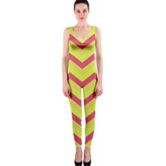 Chevron Yellow Pink OnePiece Catsuits