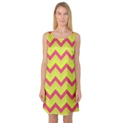 Chevron Yellow Pink Sleeveless Satin Nightdresses