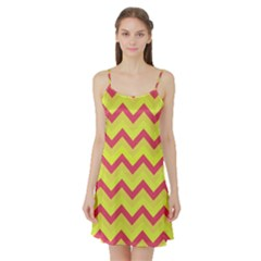 Chevron Yellow Pink Satin Night Slip