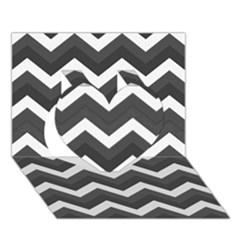 Chevron Dark Gray Heart 3D Greeting Card (7x5)