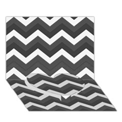 Chevron Dark Gray Heart Bottom 3d Greeting Card (7x5)