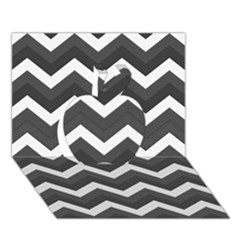 Chevron Dark Gray Apple 3D Greeting Card (7x5)