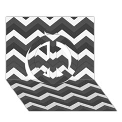Chevron Dark Gray Peace Sign 3d Greeting Card (7x5)