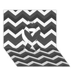 Chevron Dark Gray Ribbon 3D Greeting Card (7x5)