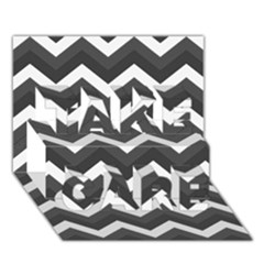 Chevron Dark Gray TAKE CARE 3D Greeting Card (7x5)