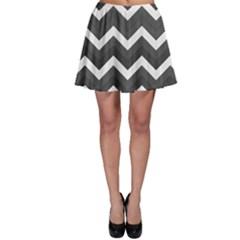 Chevron Dark Gray Skater Skirts