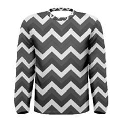 Chevron Dark Gray Men s Long Sleeve T Shirts