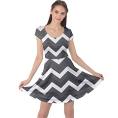 Chevron Dark Gray Cap Sleeve Dresses