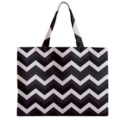 Chevron Dark Gray Zipper Tiny Tote Bags
