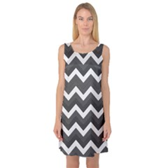 Chevron Dark Gray Sleeveless Satin Nightdresses