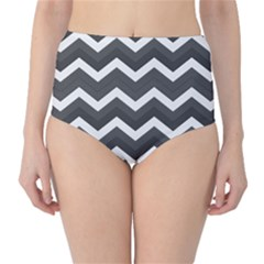 Chevron Dark Gray High-Waist Bikini Bottoms