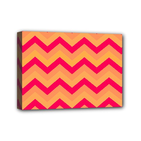 Chevron Peach Mini Canvas 7  X 5