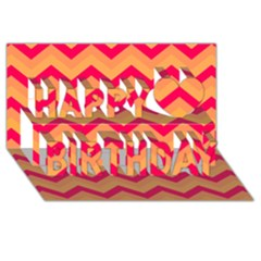 Chevron Peach Happy Birthday 3D Greeting Card (8x4)