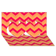Chevron Peach Twin Hearts 3D Greeting Card (8x4)
