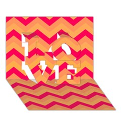 Chevron Peach LOVE 3D Greeting Card (7x5)