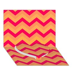 Chevron Peach Heart Bottom 3D Greeting Card (7x5)