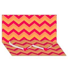 Chevron Peach Twin Heart Bottom 3d Greeting Card (8x4)