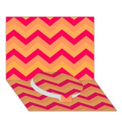 Chevron Peach Circle Bottom 3d Greeting Card (7x5)
