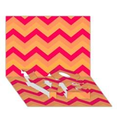 Chevron Peach LOVE Bottom 3D Greeting Card (7x5)