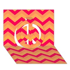 Chevron Peach Peace Sign 3d Greeting Card (7x5)