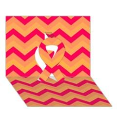 Chevron Peach Ribbon 3d Greeting Card (7x5)