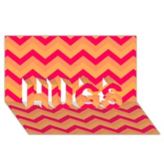 Chevron Peach Hugs 3d Greeting Card (8x4)