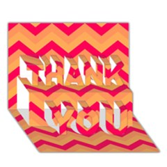 Chevron Peach Thank You 3d Greeting Card (7x5)