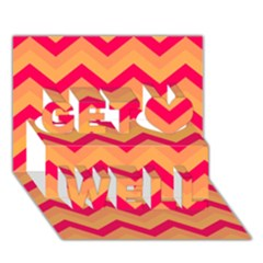 Chevron Peach Get Well 3d Greeting Card (7x5)