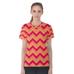 Chevron Peach Women s Cotton Tees