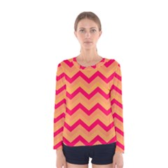 Chevron Peach Women s Long Sleeve T-shirts